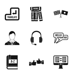 Language learning icons set simple style vector
