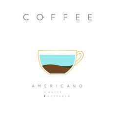 Poster coffee americano white vector