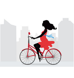 Pregnant woman in red dress rides bicycle on vector