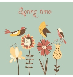 Spring flowers and birds vector