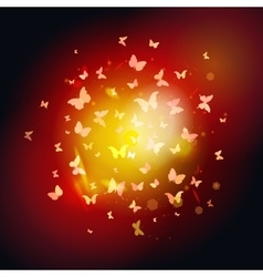 Summer butterflies fly to light yellow insects on vector
