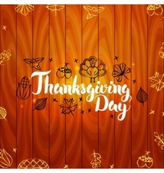 Thanksgiving Day with Wooden Board vector image vector image