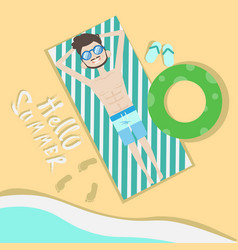 Tourist man lying on beach top angle view hello vector