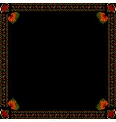 Ukrainian national floral ornament on dark backgro vector image vector image