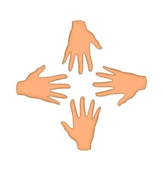Hands of four people icon cartoon style vector