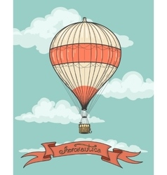 Retro hot air balloon with ribbon vector