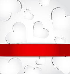 Valentines day invitation with paper hearts vector