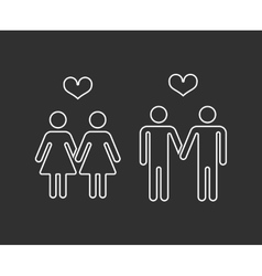 Gay pairs in love thin line icons vector