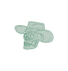 Cowboy skull drawing vector