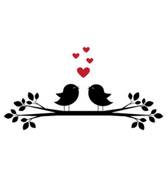 Cute birds sing and red hearts vector