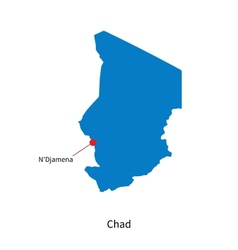 Detailed map of chad and capital city ndjamena vector