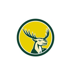 Deer stag buck head circle retro vector