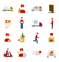 Food delivery icons set vector