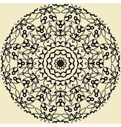 Indian mandala in outlines on yellow background vector