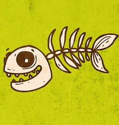 Fish skeleton cartoon vector