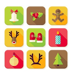 New year merry christmas square app icons set vector