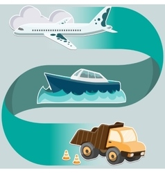 Transport system concept - airplane ship truck vector