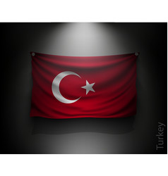 Waving flag turkey on a dark wall vector