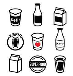 Kefir or kephir fermented milk product superfood vector