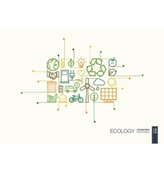 Ecology integrated thin line symbols vector