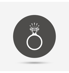 Ring sign icon Jewelry with diamond symbol vector image