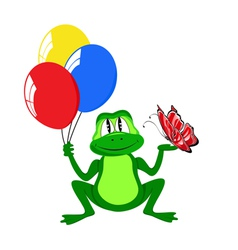 Cheerful frog with air balls vector
