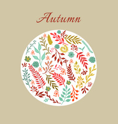 Autumn round floral pattern vector