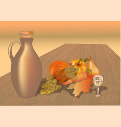 Autumn table with fruits vector