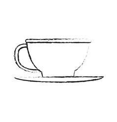 Blurred silhouette image cartoon porcelain cup in vector