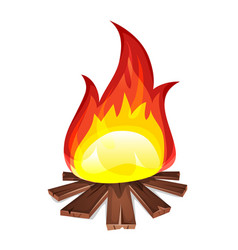 bonfire with wood burning vector image