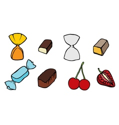 Candy set icons vector image