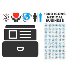 Card index icon with 1300 medical business icons vector