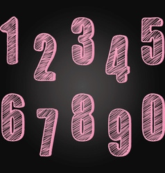 Chalkboard Numbers set Hand Draw Chalk Numbers vector image vector image