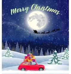 Christmas card design of car with tree on the top vector