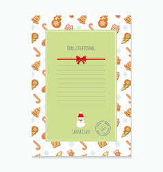 Christmas letter from santa claus template layout vector