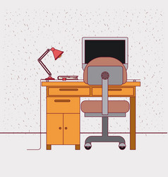 Color background with sparkles and work place home vector