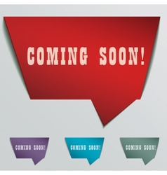 Coming soon red 3d realistic paper speech bubble vector