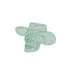 Cowboy skull drawing vector