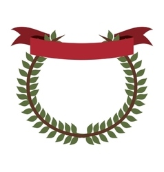Crown formed with olive branch and label flag vector