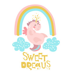 cute pink unicorn with rainbow and clouds vector image