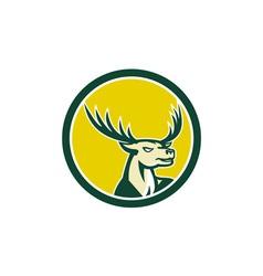 Deer Stag Buck Head Circle Retro vector image vector image