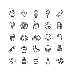 Desserts sweets ice cream muffin cakes vector image