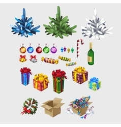 Different color Christmas tree and decorations vector image vector image