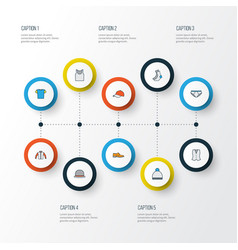 dress colorful outline icons set collection of vector image