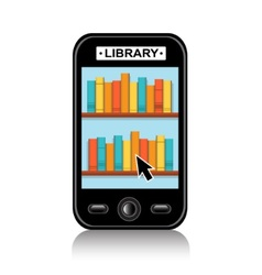 Electronic Library on your phone vector image vector image