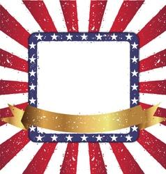 Grunge squre shape american sunburst flag vector