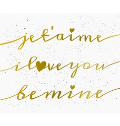 hand drawn gold text valentines day greeting card vector image