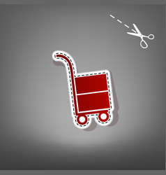 Hand truck sign red icon with for vector