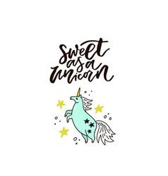 handdrawn unicorn lettering vector image