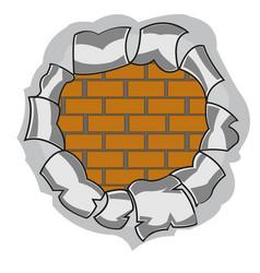 Hole and brick wall vector
